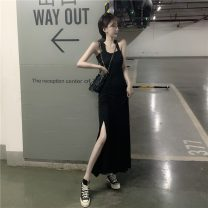 Dress Summer 2021 Gray, black Average size Mid length dress singleton  Sleeveless commute other High waist Solid color Socket One pace skirt straps 18-24 years old Other / other Retro 0313c