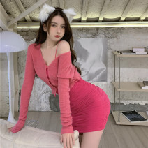 Dress Spring 2021 Pink cardigan, peach dress S. M, average size Short skirt Two piece set Sleeveless commute One word collar High waist Solid color Socket A-line skirt other camisole 18-24 years old Other / other Retro 0326+ 51% (inclusive) - 70% (inclusive) polyester fiber