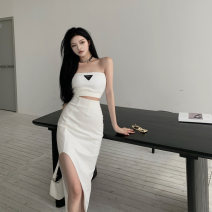 skirt Summer 2021 S, M White bra , Black bra , White skirt , Black skirt Mid length dress commute High waist skirt Solid color 18-24 years old 0411 + 51% (inclusive) - 70% (inclusive) Other / other cotton Retro