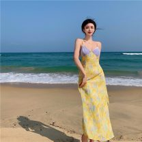 Dress Summer 2021 Picture color S, M Mid length dress singleton  Sleeveless commute V-neck High waist Broken flowers Socket A-line skirt other camisole 18-24 years old Other / other Retro 0412+