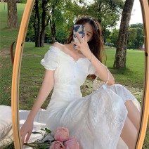 Dress Summer 2020 White fishtail skirt S,M,L Mid length dress singleton  Short sleeve commute One word collar High waist Solid color Socket Big swing puff sleeve Others 18-24 years old Other / other Retro