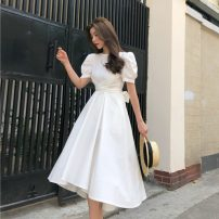Dress Summer of 2019 White, green, yellow, black S,M,L Mid length dress singleton  Short sleeve commute Crew neck High waist Solid color Big swing puff sleeve Others 18-24 years old Other / other Retro