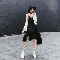 Fashion suit Summer of 2019 S. M, l, average size White Lantern Sleeve sunscreen shirt, black open back lace up suspender skirt 18-25 years old Other / other