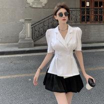 skirt Summer 2021 S, M White coat, black coat, white skirt, black skirt Short skirt commute High waist Flower bud skirt Solid color 18-24 years old 0413+ 71% (inclusive) - 80% (inclusive) Other / other polyester fiber Retro