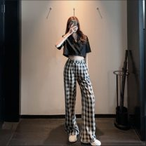 Casual pants Black top, plaid wide leg pants S,M,L Spring 2021 trousers Wide leg pants High waist commute 18-24 years old 0306M Other / other Retro