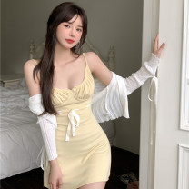 Dress Spring 2021 Yellow skirt and white cardigan Average size Short skirt Two piece set Sleeveless commute One word collar High waist Solid color Socket A-line skirt other camisole 18-24 years old Other / other Retro 0331+ cotton