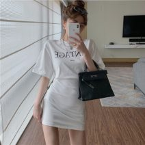 Dress Spring 2021 White, black Average size Short skirt singleton  Short sleeve commute Crew neck High waist letter Socket A-line skirt routine Others 18-24 years old Other / other Retro 0320+ 31% (inclusive) - 50% (inclusive) other
