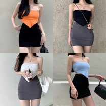 skirt Spring 2021 Average size White bra, orange bra, blue bra, black bra, black skirt, gray skirt Short skirt commute High waist A-line skirt Solid color 18-24 years old 0401+ 30% and below Other / other cotton Retro