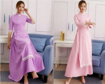 cheongsam Summer of 2019 Short sleeve long cheongsam Retro High slit daily Ruyi lapel Solid color 25-35 years old polyester fiber 81% (inclusive) - 90% (inclusive)
