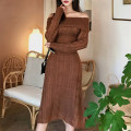 Dress Autumn of 2019 White, dark brown S,M,L,XL Mid length dress singleton  Long sleeves commute One word collar High waist Solid color Socket A-line skirt bishop sleeve 25-29 years old Type X Korean version 81% (inclusive) - 90% (inclusive) knitting