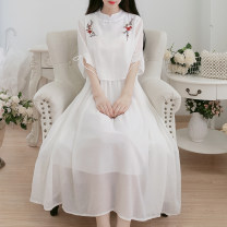 Dress Summer 2020 white S,M,L Mid length dress singleton  Short sleeve commute Crew neck High waist Solid color A button Big swing routine Others 18-24 years old Type A Retro Bowknot, embroidery, lace, stitching, bandage 71% (inclusive) - 80% (inclusive) Chiffon other