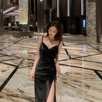 Dress Summer 2020 black S,M,L Miniskirt singleton  Sleeveless commute High waist Solid color camisole Korean version 376#