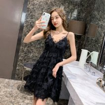Dress Summer 2021 White, black S,M,L Short skirt singleton  Sleeveless commute V-neck High waist Solid color zipper A-line skirt camisole Type A Korean version Lotus leaf, open back, Auricularia auricula, stitching, strap, gauze net, zipper