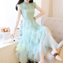 Dress Summer 2020 White, green, pink S,M,L Mid length dress singleton  Sleeveless commute stand collar High waist Solid color zipper Cake skirt routine Others 18-24 years old Type A Other / other Retro Splicing 31% (inclusive) - 50% (inclusive) Lace Cellulose acetate