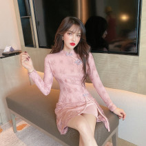 Dress Summer 2021 Pink, black S,M,L Short skirt singleton  Long sleeves commute stand collar High waist Solid color zipper A-line skirt routine Others 18-24 years old Type A Retro 31% (inclusive) - 50% (inclusive) Lace polyester fiber
