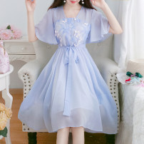 Dress Summer 2021 Blue, pink S,M,L,XL Mid length dress singleton  Short sleeve commute square neck High waist Solid color Socket A-line skirt Petal sleeve Others 18-24 years old Type A Retro Bowknot, embroidery, lace, bandage 71% (inclusive) - 80% (inclusive) Chiffon other