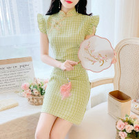 Dress Summer 2020 Green, pink S,M,L,XL Middle-skirt singleton  Short sleeve commute stand collar middle-waisted lattice Socket A-line skirt Flying sleeve Others 18-24 years old Type A Retro Auricularia auricula, button