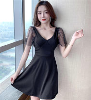 Dress Summer 2021 White, red, black S,M,L Short skirt singleton  Short sleeve commute V-neck High waist Solid color Big swing Lotus leaf sleeve Other / other Korean version ninety-one thousand one hundred and sixty-nine # cotton