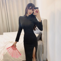 Dress Spring 2021 Pink, black S,M,L Miniskirt singleton  Long sleeves commute stand collar High waist Solid color zipper Pencil skirt routine Others 18-24 years old Type A Retro Splicing 31% (inclusive) - 50% (inclusive) brocade polyester fiber