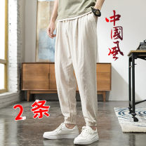 Casual pants Grass ink Youth fashion M L XL 2XL 3XL 4XL 5XL thin Ninth pants Other leisure easy Micro bomb summer youth Chinese style 2020 middle-waisted Little feet Cotton 98% other 2% Haren pants No iron treatment Spring 2020 Pure e-commerce (online only)