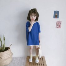 Dress Spring 2021 E66 blue [pure cotton], L17 Beige [pure cotton] It is recommended to be about 85-90cm for Size 90, 90-100cm for size 100, 100-110cm for Size 110, 110-120cm for Size 120, 120-130cm for Size 130, 130-140cm for size 140 and 75-85cm for size 80 longuette Fake two pieces Short sleeve