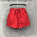 Jeans Summer of 2019 Bright red 26 27 28 29 30 31 shorts High waist Wide legged trousers routine 25-29 years old Wash button multiple pockets Cotton elastic denim Dark color Y19H1844 AI Tianli 71% (inclusive) - 80% (inclusive) Cotton 80% polyester 16.5% polyurethane elastic fiber (spandex) 3.5%