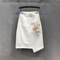 skirt Summer of 2019 S M L XL 2XL white Mid length dress street High waist Irregular Big flower Type A 25-29 years old Y19H1344 71% (inclusive) - 80% (inclusive) Denim AI Tianli cotton Tassel holes, hand worn embroidery, three-dimensional decoration, asymmetric nail bead sequin Europe and America