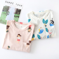 Nightdress Other / other 160(M),165(L),170(XL) Sweet Short sleeve pajamas Middle-skirt summer other Crew neck cotton printing More than 95% Knitted cotton fabric