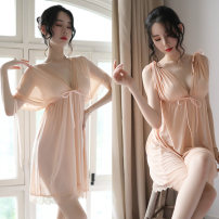 Pajamas / housewear set female Other / other Average size (80 ~ 135 kg) Apricot (nightdress + T pants), black (nightdress + T pants), purple (nightdress + T pants), white (nightdress + T pants) Polyester (polyester) sexy Leisure home summer Thin money V-neck Solid color youth Mesh fabric