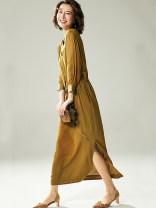 Dress Autumn 2020 S,M,L,XL Mid length dress singleton  Long sleeves commute V-neck Loose waist Solid color Socket A-line skirt shirt sleeve Others 30-34 years old Type A BEEWOOD/ Wutong T1206 More than 95% silk