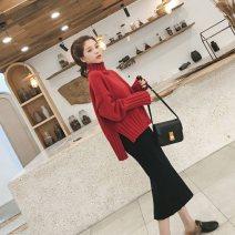 Fashion suit Winter 2020 S=1,M=2,L=3,XL=4 Red sweater + black skirt 71% (inclusive) - 80% (inclusive) cotton