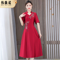 Dress Summer 2021 Red purple L XL 2XL 3XL 4XL 5XL Mid length dress singleton  Short sleeve commute V-neck middle-waisted other zipper A-line skirt routine Others 30-34 years old Type A Han Weinuo Retro Sequin zipper NRJ-21900237 More than 95% other Other 100% Pure e-commerce (online only)