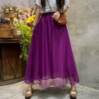 skirt Summer 2021 Average size Purple green black longuette commute High waist A-line skirt Solid color Type A JXN451 Delicate sleeve fold literature Pure e-commerce (online only)