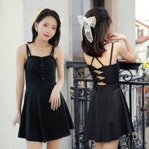 one piece  Baiya L [75-105 kg], XL [105-130 kg] Black, orange Skirt one piece With chest pad without steel support polyester fiber female Sleeveless Casual swimsuit Solid color, others backless