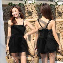 one piece  Baiya M [75-95 Jin], l [95-105 Jin], XL [105-120 Jin] Black, white Skirt one piece With chest pad without steel support polyester fiber female Sleeveless Casual swimsuit Solid color Lotus leaf edge