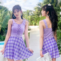 one piece  Baiya M [75-95 Jin], l [95-105 Jin], XL [105-120 Jin] Violet, pink, off white Skirt one piece With chest pad without steel support polyester fiber female Sleeveless Casual swimsuit Solid, plaid Lotus leaf edge