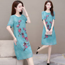 Dress More than 95% polyester fiber Summer 2020 Polyester 100% Medium length skirt singleton  Short sleeve commute San Lindo Crew neck Loose waist Pure e-commerce (online sales only) Solid color routine A-line skirt 35-39 years old QJ20K902 Other Korean version Button printing L XL 2XL 3XL 4XL 5XL