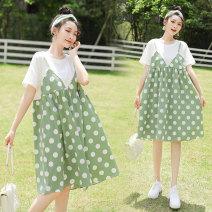Dress Summer clothes Green black M L XL XXL Korean version Short sleeve Medium length summer Crew neck Dot ZH566