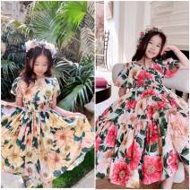 Dress Yellow bubble sleeve dress, red dress female Other / other 90cm,100cm,110cm,120cm,130cm,140cm,150cm Cotton 100% cotton Big swing 12 months, 18 months, 2 years old, 3 years old, 4 years old, 5 years old, 6 years old, 7 years old, 8 years old, 9 years old, 10 years old
