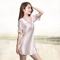 Nightdress 160(M),165(L),170(XL),175(XXL) sexy Short sleeve pajamas Short skirt summer Solid color youth V-neck silk Embroidery More than 95% silk 200g and below