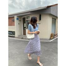 skirt Summer 2021 Average size Yellow skirt, blue skirt, pink skirt, purple skirt Mid length dress commute High waist other Broken flowers 18-24 years old ZZHVP906073 30% and below other other Korean version
