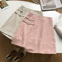 skirt Summer 2020 S,M,L Apricot skirt, pink skirt commute High waist skirt Solid color 18-24 years old WW507791 30% and below cotton Korean version