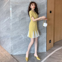 Women's large Summer 2020 yellow L XL S M singleton  commute Short sleeve Solid color Retro V-neck routine MTX 1105 Beautiful and beautiful 25-29 years old Button Medium length Other 100% Pure e-commerce (online only) Ruffle Skirt