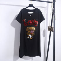 Women's large Summer 2020 A01 fawn small 7 V printing Red Hat Black Red Hat Red Hat stripe with hat back brain Flower Headband crown owl foreign female black foreign female stripe with hat bear red shoes red shoes black universe letter white letter black Dress singleton  commute easy thin Socket
