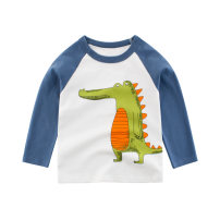 T-shirt Off white 27KIDS 110cm,100cm,90cm,140cm,130cm,120cm neutral spring Long sleeves Crew neck Korean version No model Pure cotton (100% cotton content) Cartoon animation Class A hygroscopic and sweat releasing 10 years old