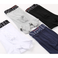 underpants male Black, white, grey M,L,XL Other / other 1 cotton boxer middle-waisted motion Solid color youth More than 95% Cotton fabric motion U-convex design