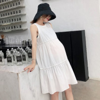 Dress Jianyu White black M L Korean version Sleeveless Medium length summer Crew neck Solid color L019