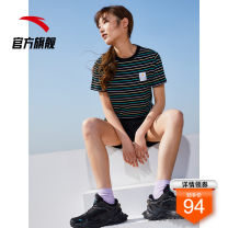 Sports T-shirt Anta XS/155 S/160 M/165 L/170 XL/175 XXL/180 Short sleeve female one hundred and thirty-nine Crew neck Pure white stripe-1 light fragrant purple stripe-2 basic black stripe-4 routine ventilation Spring 2021 Pattern stripe Sports & Leisure Sports life Organic cotton
