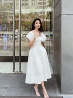 Dress Autumn 2020 white XS,S,M,L longuette singleton  Sleeveless High waist Solid color routine polyester fiber
