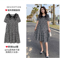 Women's large Summer 2021 Floral skirt, floral Navy collar L (95-120) Jin, XL (120-135) Jin, XXL (135-155) Jin, XXXL (155-175) Jin, XXXXL (175-200) Jin Dress singleton  commute Socket Flower color Crew neck other routine Other / other 51% (inclusive) - 70% (inclusive) Middle-skirt